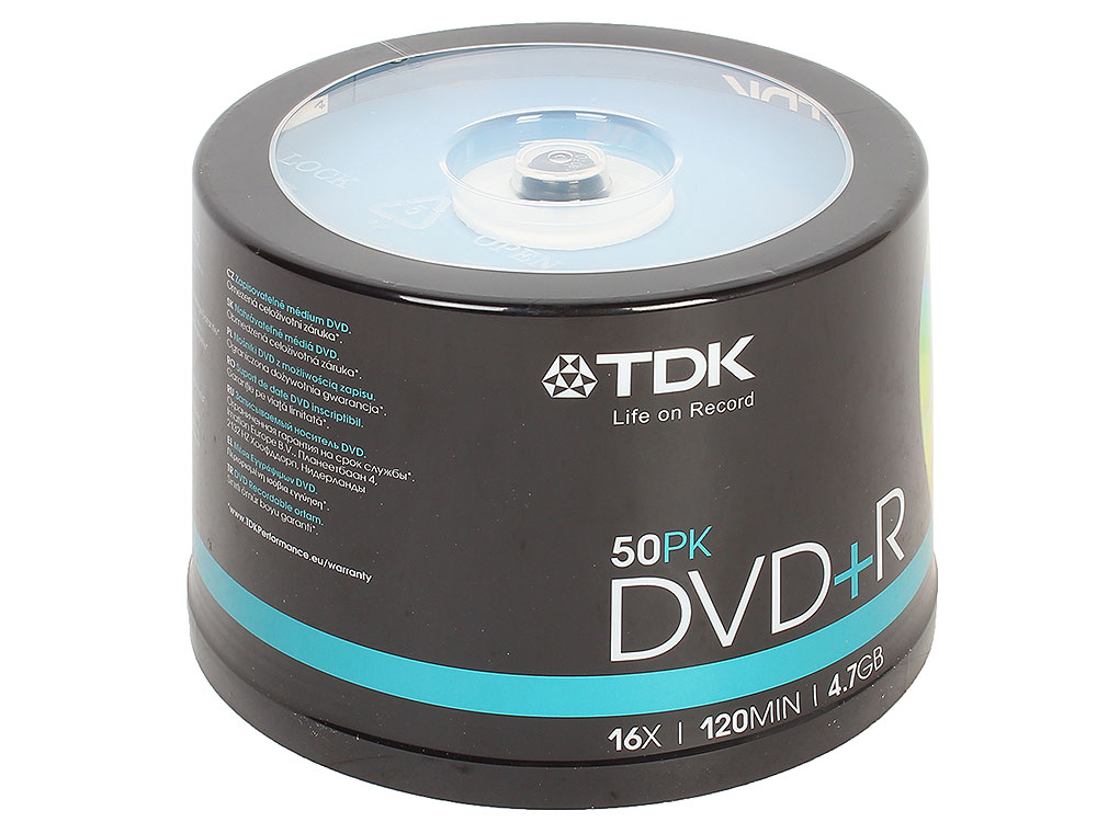 DVD+R TDK 4.7Gb 16x 50шт Cake Box dvd r vs 4 7gb 16х 10шт cake box