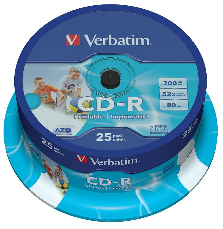 CD-R Verbatim 700Mb 52x DL Crystal AZO 25шт Cake Box Printable dvd r vs 4 7gb 16х 10шт cake box