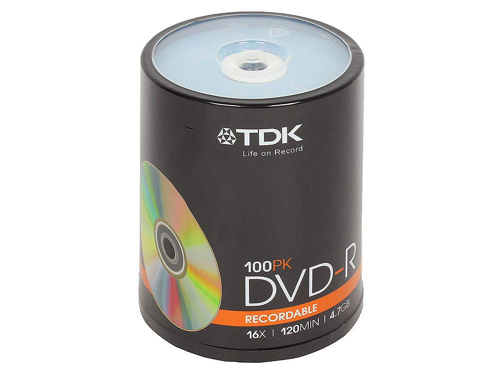 DVD-R TDK 4.7Gb 16x 100шт Cake Box dvd r tdk 4 7gb 16x slim