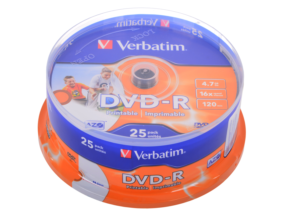 DVD-R Verbatim 4.7Gb 16х 25шт Cake Box Printable verbatim dvd r оптом ua