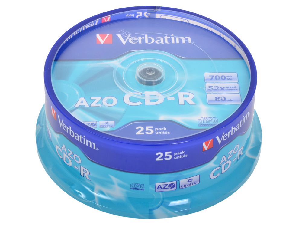 Картинка для CD-R Verbatim 700Mb 52x DL Crystal AZO 25шт Cake Box