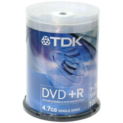DVD+R TDK 4.7Gb 16x 100шт Cake Box Printable dvd r tdk 4 7gb 16x slim