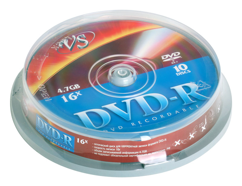 DVD-R VS 4.7Gb 16х 10шт Cake Box фен home element he hd313 сиреневый турмалин
