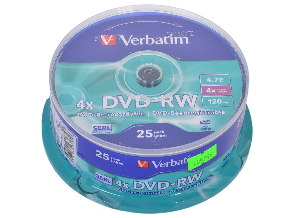 DVD-RW Verbatim 4.7Gb 4x 25шт Cake Box