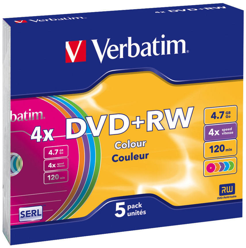 Диски DVD+RW 4.7Gb Verbatim 4x 5 шт Slim Сolor (43297) aya 140 slim portable usb 2 0 dvd rw external optical drive black