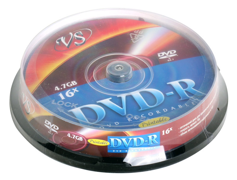 DVD-R VS 4.7Gb 16х 10шт Cake Box Printable dvd r vs 4 7gb 16х 10шт cake box
