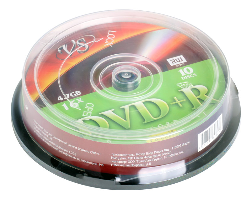 DVD+R VS 4.7Gb 16х 10шт Cake Box Printable dvd r vs 4 7gb 16х 10шт cake box
