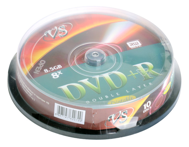 DVD+R VS 8.5Gb 8х Double Layer 10шт Cake Box Printable dvd r vs 4 7gb 16х 10шт cake box