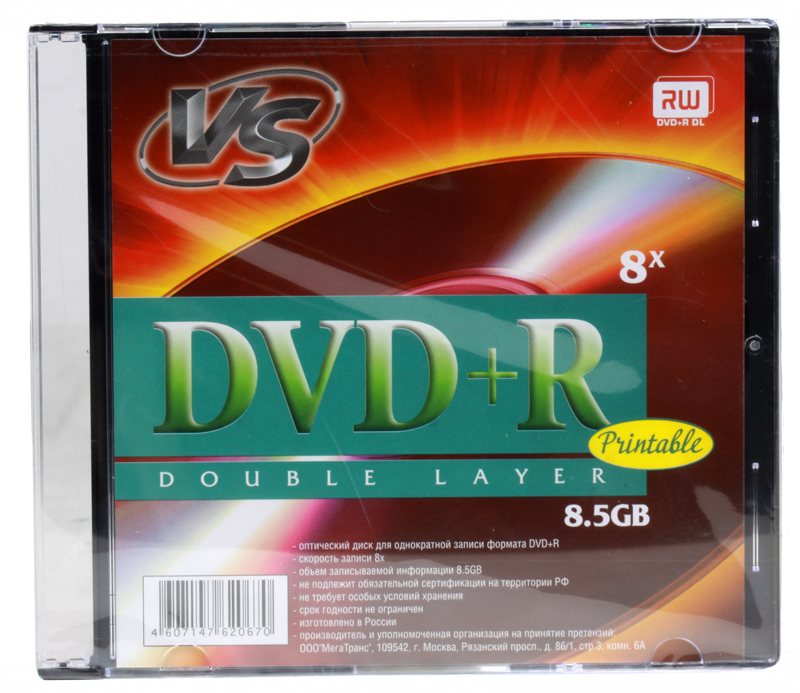 DVD+R VS 8.5Gb 8х Double Layer Slim Printable