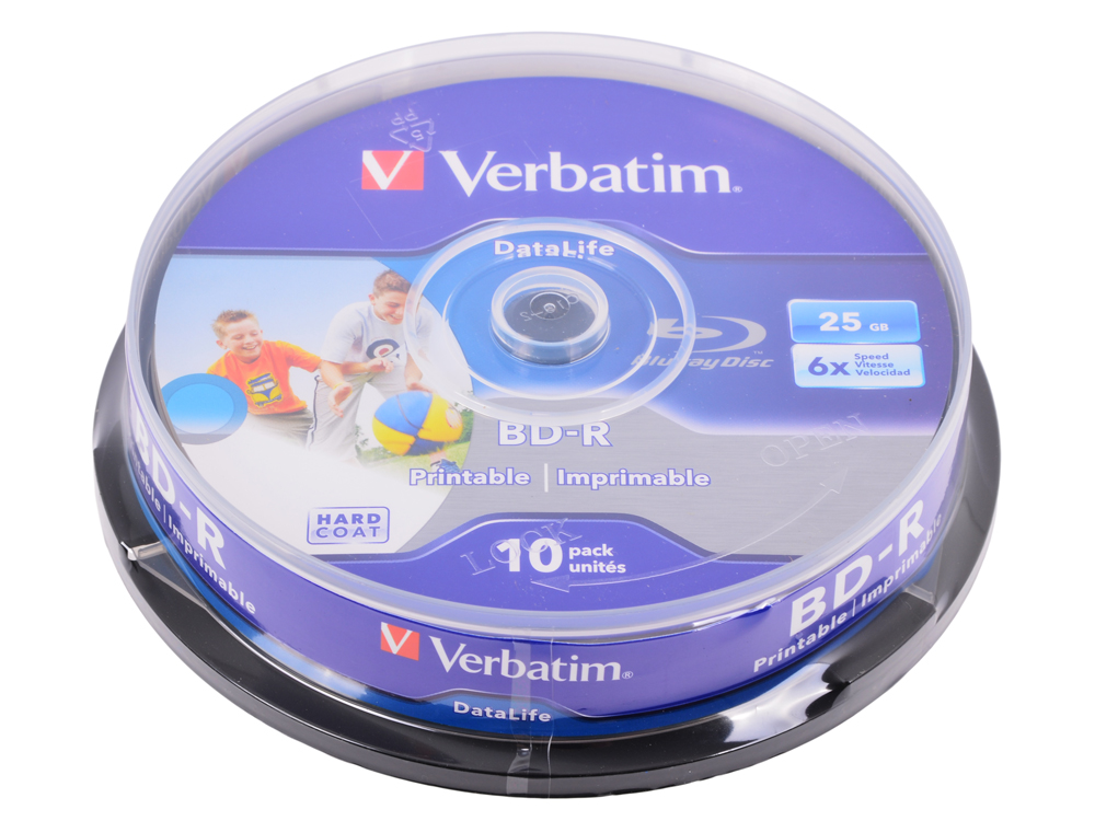 BD-R Verbatim 25GB 6x 10шт CakeBox Full Ink Print диски bluray verbatim bd r 25gb 6x 25шт cakebox printable 43811
