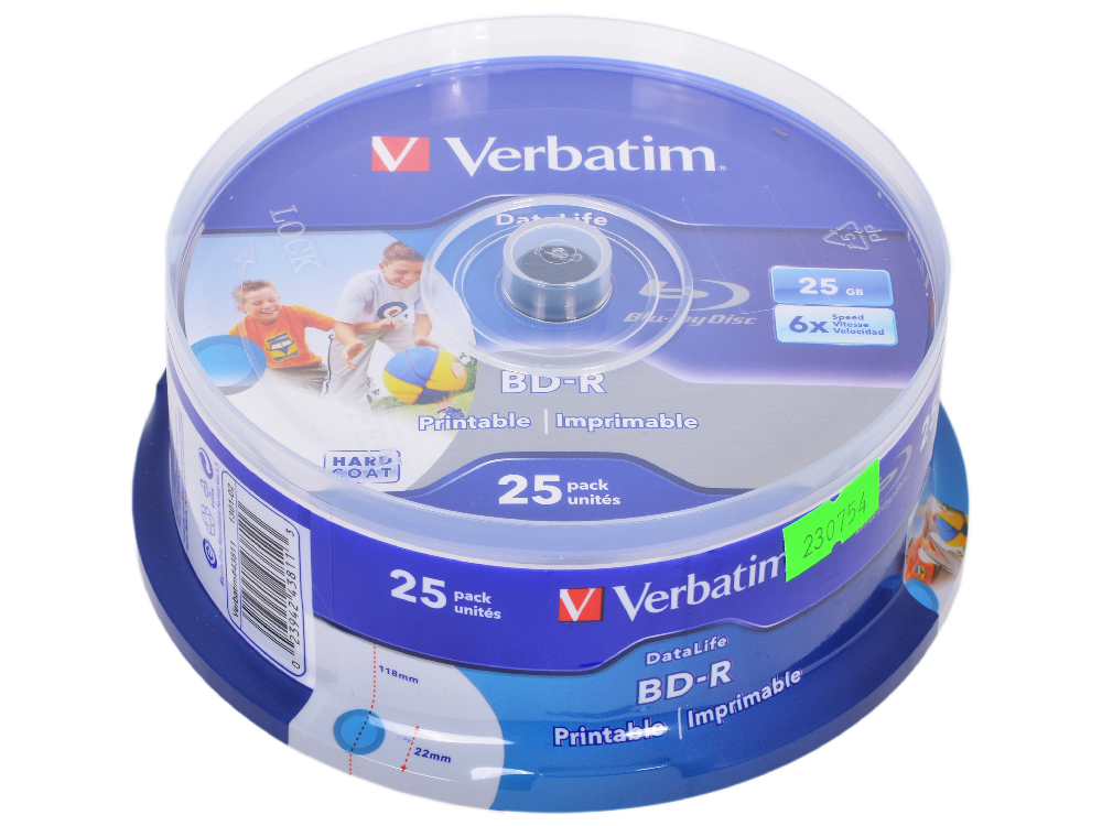 BD-R Verbatim 25GB 6x 25шт CakeBox Full Ink Print диски bluray verbatim bd r 25gb 6x 25шт cakebox printable 43811