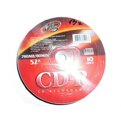 CD-R VS 700Mb 52x 10шт Shrink dvd r vs 4 7gb 16х 10шт cake box