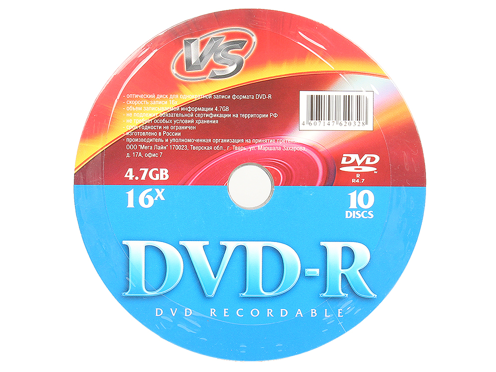 DVD-R VS 4.7Gb 16x 10шт Shrink dvd r vs 4 7gb 16х 10шт cake box