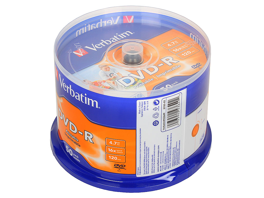 DVD-R Verbatim 4,7GB 16x CakeBox 50шт Full Ink Print диски dvd r philips 16x 4 7gb vs bulk 50шт