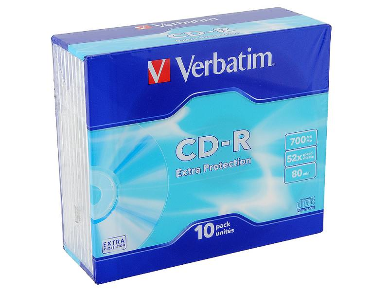 CD-R Verbatim 700Mb 52x SlimCase 10шт verbatim music cd r в киеве