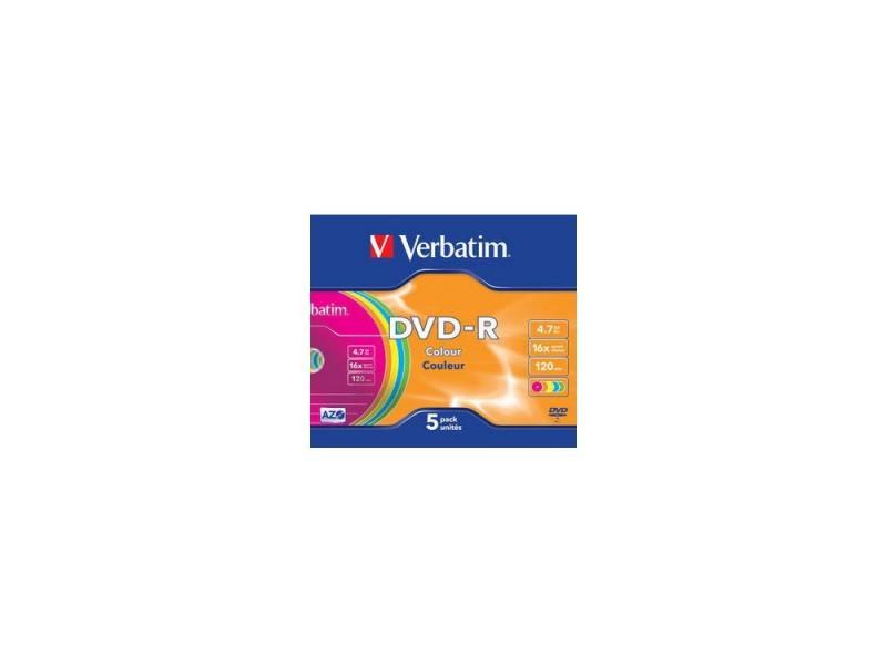 Диски DVD-R 16x 4.7Gb SlimCase (5шт) Color Verbatim [43557]