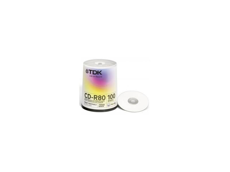 Диски CD-R TDK 700Mb 52x CakeBox Printable 100шт t19884