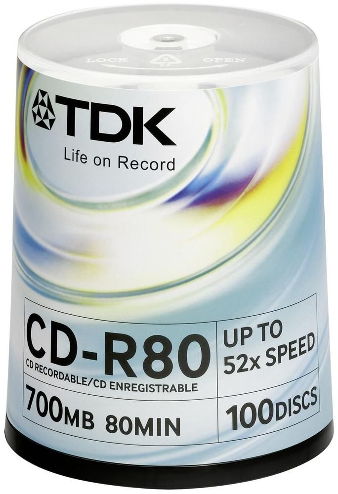 Диски TDK CD-R 700Mb 52x Cake Box 100шт t18773