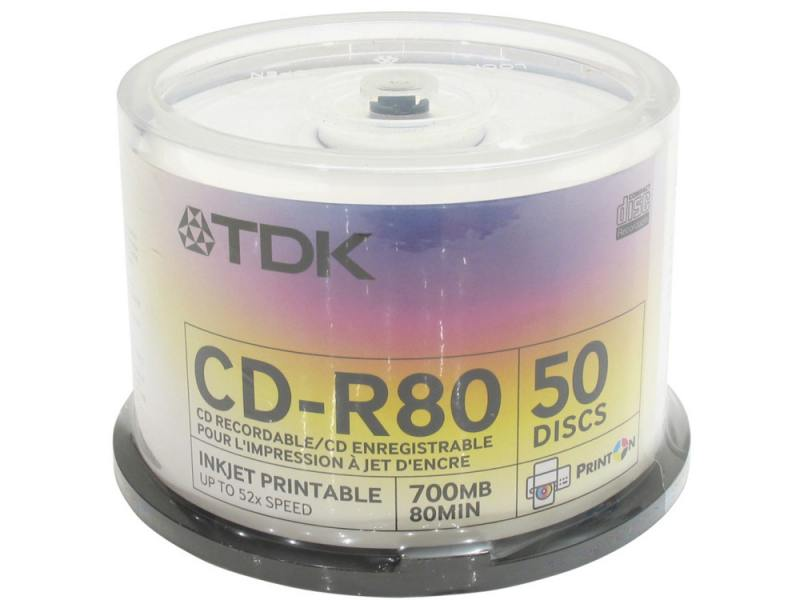 Диски TDK CD-R 700Mb 52x Photo Print Cake Box 50шт 19514 cd r verbatim 700mb 52x extra protection 10шт shrink