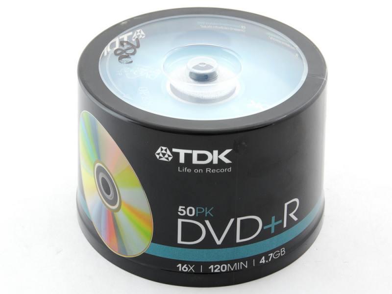 Диски DVD+R 16x 4.7Gb CakeBox (50шт) TDK 19444