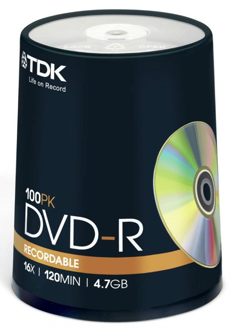 Диски DVD-R TDK 16x 4.7Gb CakeBox 100шт 19479