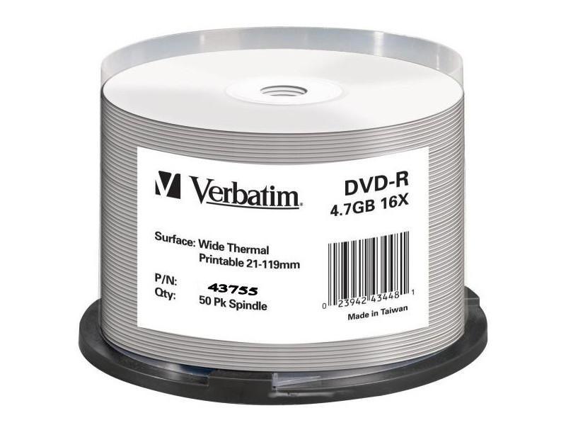 Диски DVD-R Verbatim 16x 4.7Gb Cake Box 50шт Printable 43755