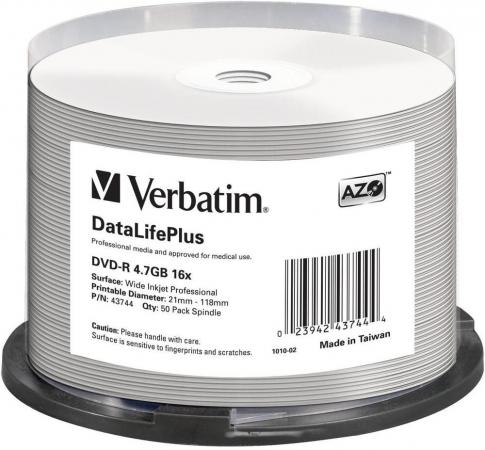 Диски DVD-R Verbatim 16x 4.7Gb Cake Box 50шт Printable 43744 диски cd dvd sony dvd r 16x dvd dvd