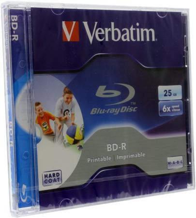 Диски BluRay Verbatim BD-R 25Gb 6x JewelCase Printable 43712 1шт new notebook pc slot in 6x 3d blu ray player m disc ca40n 6x bd rom combo 100gb 128gb bluray speler sata drive w button