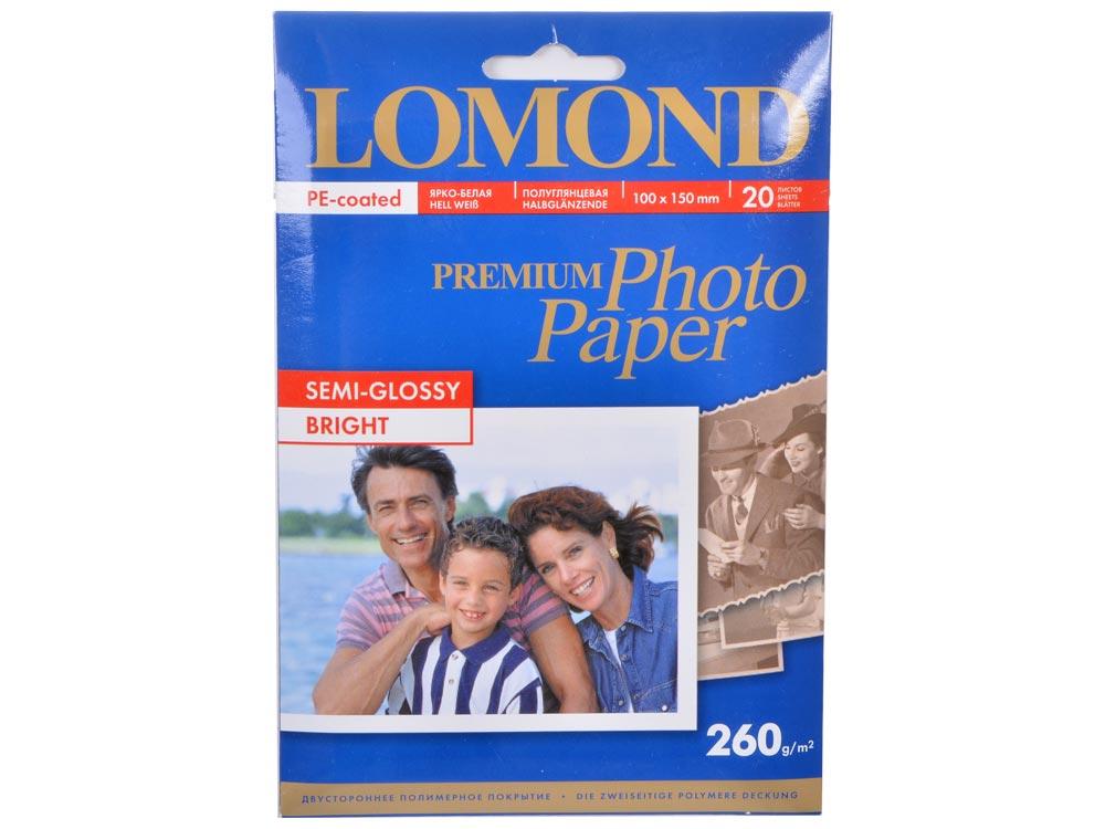 1103302 бумага LOMOND (100*150, 260гр, 20л) Premium Полуглянцевая, 1стор. lomond 6 260 20