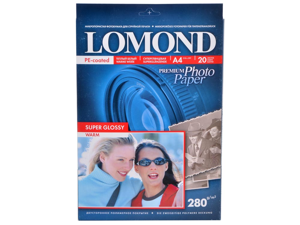 1104101 бумага LOMOND (A4, 280гр, 20л) Суперглянец , 1 стор. бумага цв а4 20л 10цв хобби тайм 2 вида