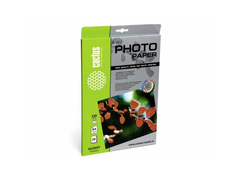 Фотобумага Cactus CS-GA423020 глянцевая  А4 230 г/м2 20 листов