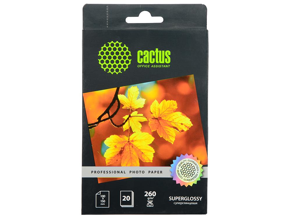Фотобумага Cactus CS-HGA626020 Professional суперглянцевая 10x15 260 г/м2 20 листов фотобумага cactus cs hga626020 professional суперглянцевая 10x15 260 г м2 20 листов