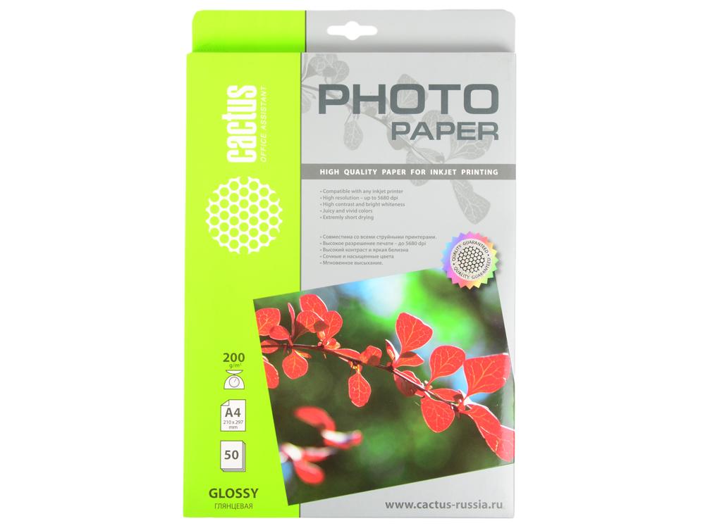 Фотобумага Cactus CS-GA420050 глянцевая А4 200 г/м2 50 листов фотобумага cactus cs ga420050 глянцевая а4 200 г м2 50 листов