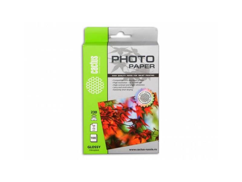 Фотобумага Cactus CS-GA6230100 10x15cm/230г/м2/100л. глянцевая для струйной печати