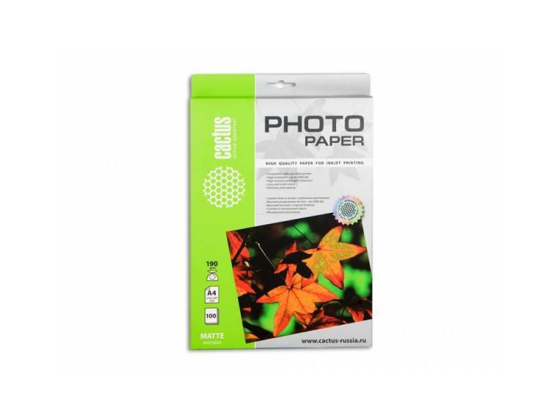 Фотобумага Cactus CS-MA4190100 A4/190г/м2/100л. матовая для струйной печати