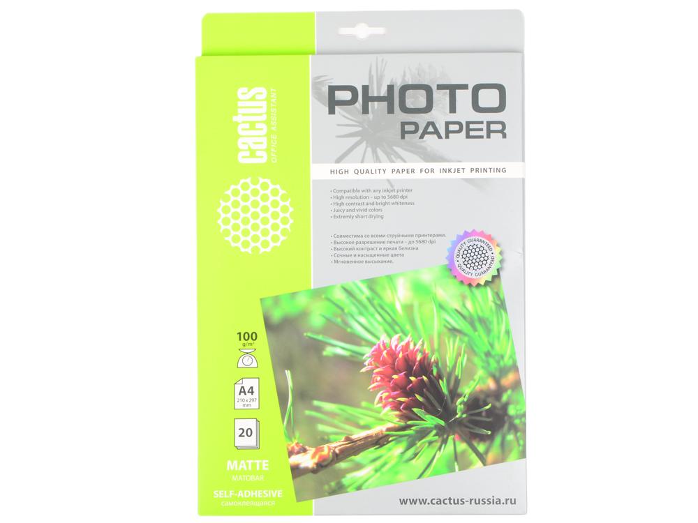 Самоклеящаяся фотобумага Cactus CS-MSA410020 матовая А4 100 г/м2 20 листов фотобумага cactus cs gma418020 глянцевая матовая двухсторонняя а4 180 г м2 20 листов