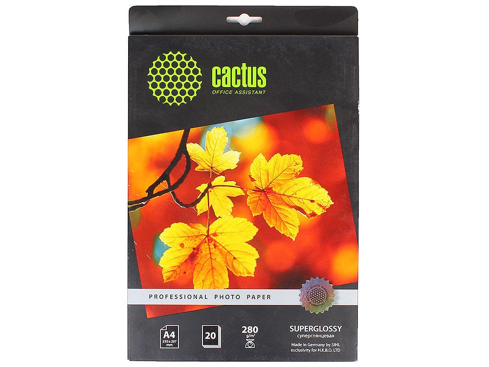Фотобумага Cactus CS-HGA428020 Professional суперглянцевая А4 280г/м2 20 листов фотобумага cactus cs hga626020 professional суперглянцевая 10x15 260 г м2 20 листов