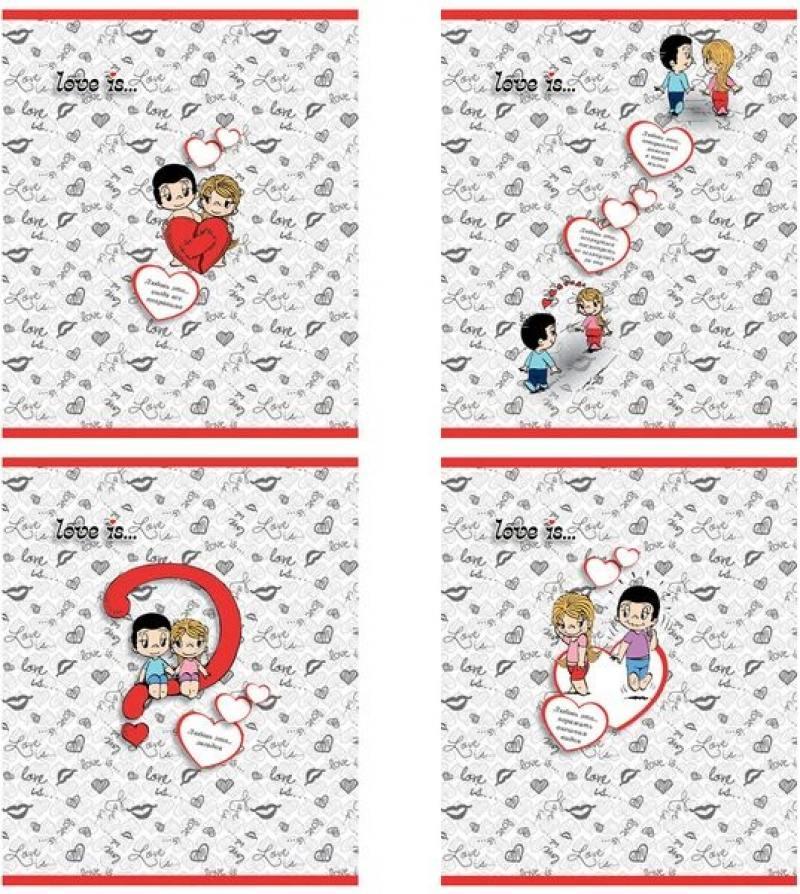 Тетрадь общая Action! Love is 96 листов клетка скрепка LI-AN 9618/5 в ассортименте LI-AN 9618/5