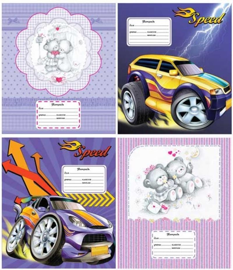 Тетрадь школьная Action! Cartoon. Cars/Cuties 12 листов линейка скрепка AN 1203/3 в ассортименте AN