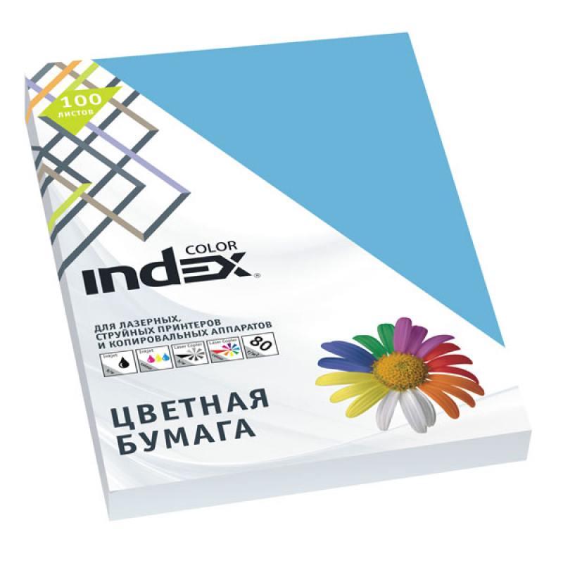 Бумага цветная Index Color, 100 листов, А4, ярко-синий IC78/100