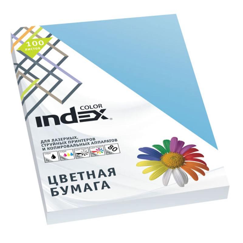 Бумага цветная Index Color, 100 листов, А4, лазурь IC77/100 цветная бумага index color a4 100 листов icmixmedium 4x25 100