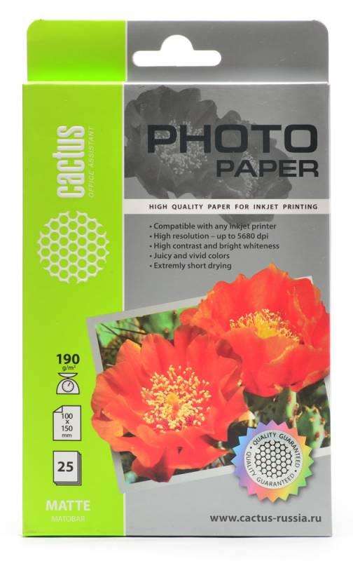 Бумага Cactus CS-MA619025 10x15см 190г/кв.м матовая 25л