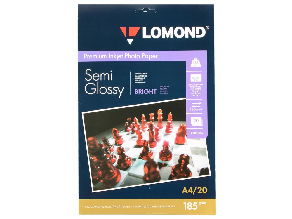 Фотобумага Lomond A4 185г/м2 20л полуглянцевая 1101306 фотобумага a4 lomond 1103301 260 г м2
