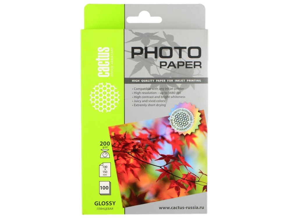 Бумага Cactus CS-GA6200100 10x15см 200г/кв.м глянцевая 100л бумага cactus cs ga4200100 a4 200г кв м глянцевая 100л