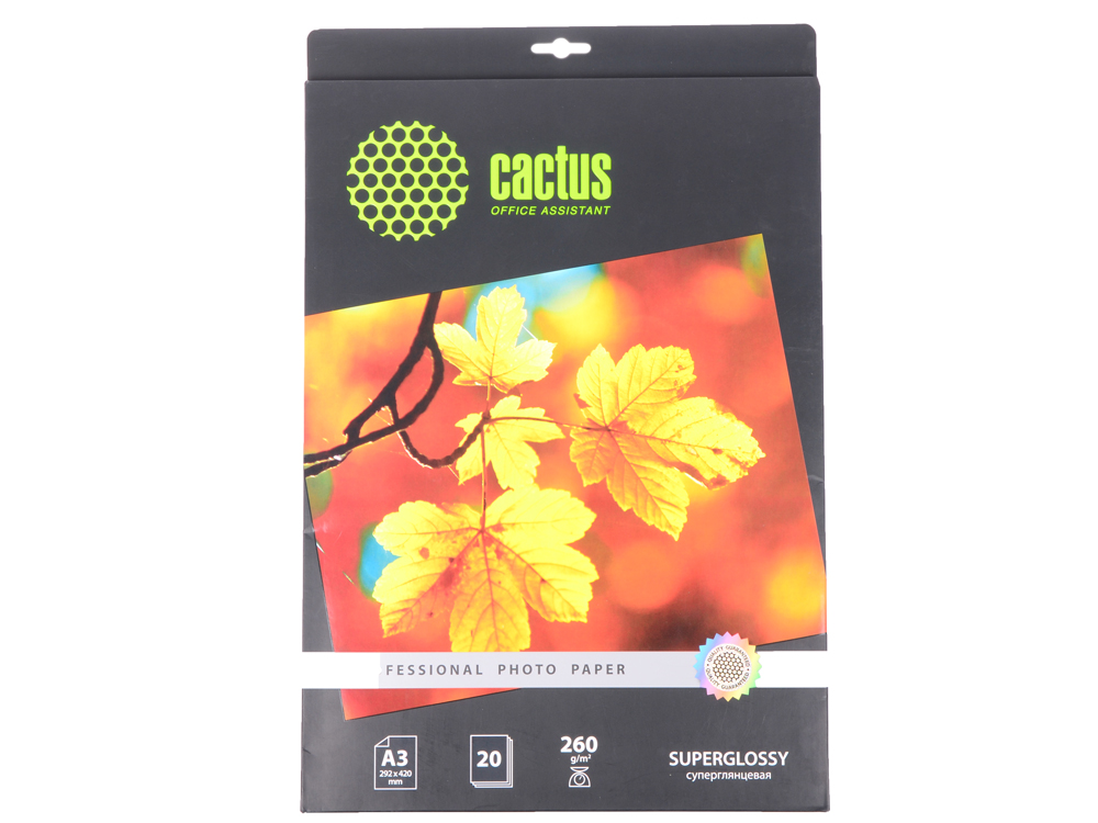 Бумага Cactus CS-HGA326020 Professional А3 260г/кв.м суперглянцевая 20л цена