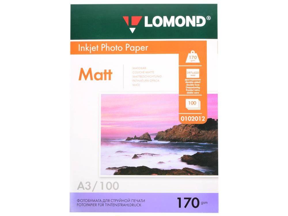 Фотобумага Lomond A3 170г/кв.м матовая двухсторонняя 100л 0102012 фотобумага lomond 0300431 0300433 матовая a3 250g m2 двухсторонняя 150 листов