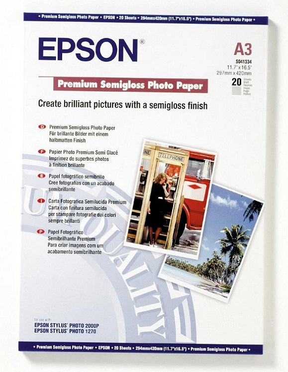 Бумага Epson A3 251 г/кв.м Premium Semiglossy Photo Paper [C13S041334] 20л бумага c13s041617 epson enchanced adhesive syntetic paper 2430 5m c13s041617