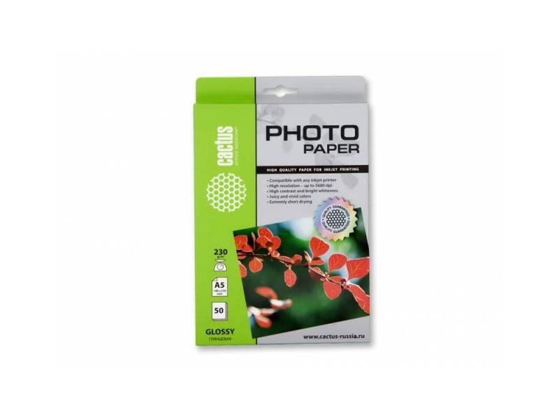 Бумага Cactus CS-GA523050 A5 230г/кв.м глянцевая 50л фотобумага cactus cs ga523050 a5 230г м2 50л глянцевая для струйной печати