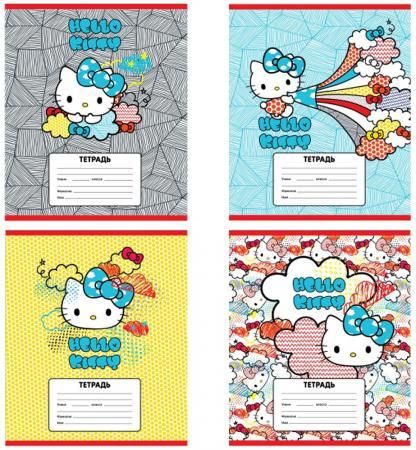 Тетрадь школьная Action! HELLO KITTY, мел. картон, вд-лак, лин., ф. А5, 12 л., 4 дизайна HKO-AN-1201 цена и фото