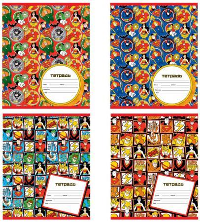 Тетрадь школьная Action! DC COMICS, мел. картон, кл., ф. А5, 12 л., вд-лак, 4 дизайна DC-AN 1201/5 цена и фото